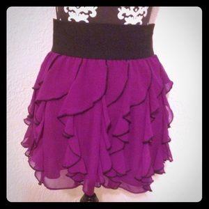 Express ruffled festival mini skirt high waist
